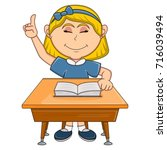 girl studying with school table ... | Shutterstock .eps vector #716039494