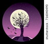 vector illustration of old tree ... | Shutterstock .eps vector #716040490
