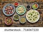 vegetarian food. authentic...   Shutterstock . vector #716067220