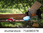 place of residence of homeless... | Shutterstock . vector #716080378