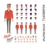 Front, side, back view animated character, separate parts of body. Fashionable bearded hipster constructor with various views, hairstyles, poses and gestures. Flat vector illustration.   Shutterstock vector #716088934
