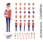 front  side  back view animated ... | Shutterstock .eps vector #716088946
