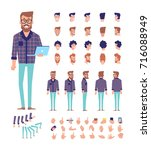 front  side  back view animated ... | Shutterstock .eps vector #716088949