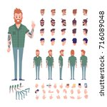 front  side  back view animated ... | Shutterstock .eps vector #716089048