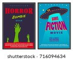 retro flat style movie cinema... | Shutterstock .eps vector #716094634