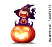 halloween little witch. girl... | Shutterstock .eps vector #716095678
