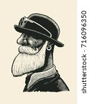 man with a mustache and beard... | Shutterstock .eps vector #716096350