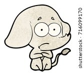 cartoon unsure elephant   Shutterstock .eps vector #716099170