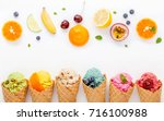 various of ice cream flavor in... | Shutterstock . vector #716100988
