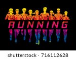 marathon runners  group of... | Shutterstock .eps vector #716112628