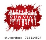 marathon runners  group of... | Shutterstock .eps vector #716114524