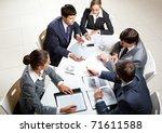 team of five business people... | Shutterstock . vector #71611588