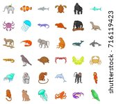 animal icons set. cartoon style ... | Shutterstock . vector #716119423