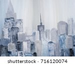 abstract city of acrylic... | Shutterstock . vector #716120074