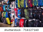 variety of hiking backpacks in... | Shutterstock . vector #716127160