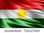kurdistan flag of silk 3d... | Shutterstock . vector #716127424