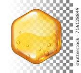 realistic vector honey drop.... | Shutterstock .eps vector #716128849