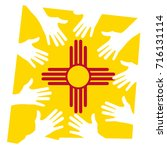 hands helping new mexico vector ... | Shutterstock .eps vector #716131114