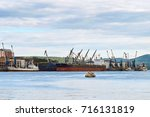 view of logistic port with old ... | Shutterstock . vector #716131819