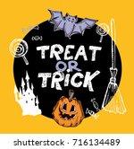 halloween hand drawn characters ... | Shutterstock .eps vector #716134489