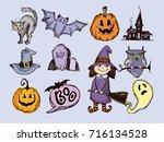 halloween hand drawn characters ... | Shutterstock .eps vector #716134528