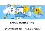 email marketing concept on blue ... | Shutterstock .eps vector #716137000