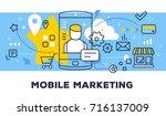 mobile marketing concept on... | Shutterstock .eps vector #716137009