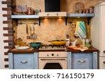 interior retro kitchen | Shutterstock . vector #716150179