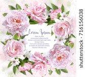 watercolor pink peonies frame... | Shutterstock . vector #716156038
