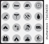 set of 16 editable camping... | Shutterstock .eps vector #716156533
