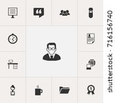 set of 13 editable office icons....