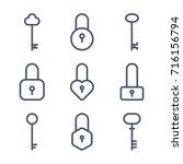 locks   keys icon set | Shutterstock .eps vector #716156794