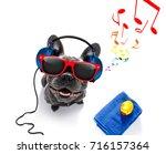 cool dj french bulldog dog... | Shutterstock . vector #716157364