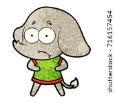 cartoon unsure elephant   Shutterstock .eps vector #716157454