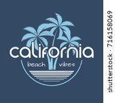 california beach vibes t shirt... | Shutterstock .eps vector #716158069
