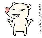 angry polar bear cartoon... | Shutterstock .eps vector #716158624