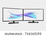 two desktop monitors full hd... | Shutterstock .eps vector #716163193