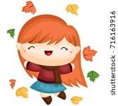 autumn girl | Shutterstock .eps vector #716163916