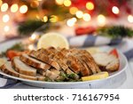 plate with delicious sliced... | Shutterstock . vector #716167954