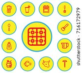 set of 13 editable cook outline ...