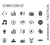set of 20 editable music icons. ... | Shutterstock .eps vector #716173126