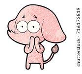 cartoon unsure elephant | Shutterstock .eps vector #716173819