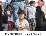 syrian refugees  mainly from... | Shutterstock . vector #716176714