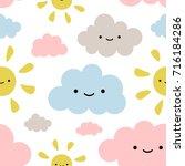 cute sun and cloud seamless...   Shutterstock .eps vector #716184286