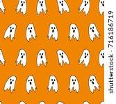 halloween ghosts   hand drawn... | Shutterstock .eps vector #716186719