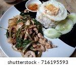 chicken basil chicken egg | Shutterstock . vector #716195593
