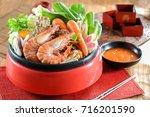 japanese sukiyaki in traditional | Shutterstock . vector #716201590