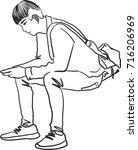 vector art drawing of handsome... | Shutterstock .eps vector #716206969