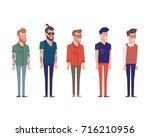 3 4 view characters. separate... | Shutterstock .eps vector #716210956