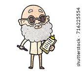 cartoon curious man with beard...   Shutterstock .eps vector #716225554
